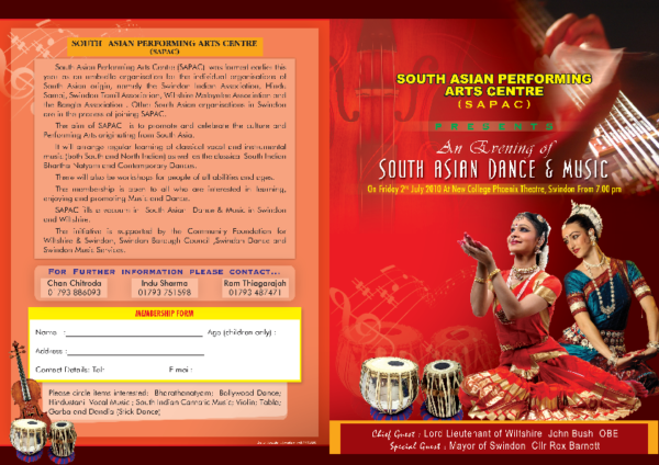 Leaflet from our Asian Dance and Music Event held on the 2nd July 2010 at Swindon's New College.